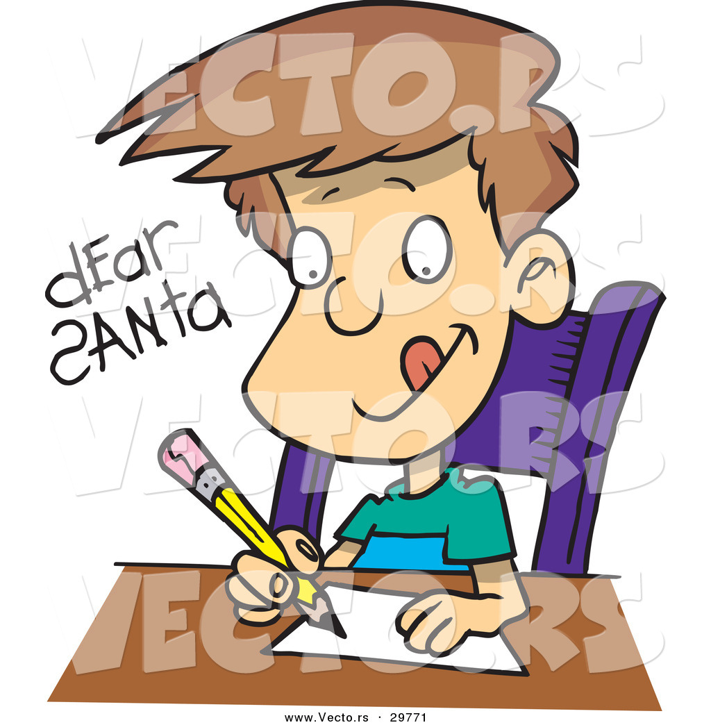 ... Vector of a Happy Boy Writing Letter to Santa by Ron Leishman - #29771