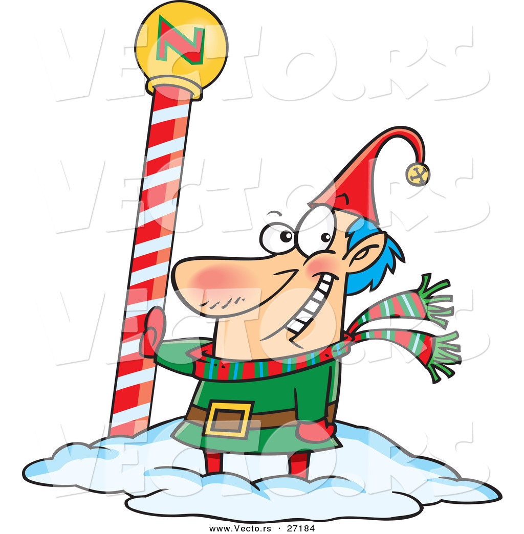 cartoon vector of a happy christmas elf beside the north pole by