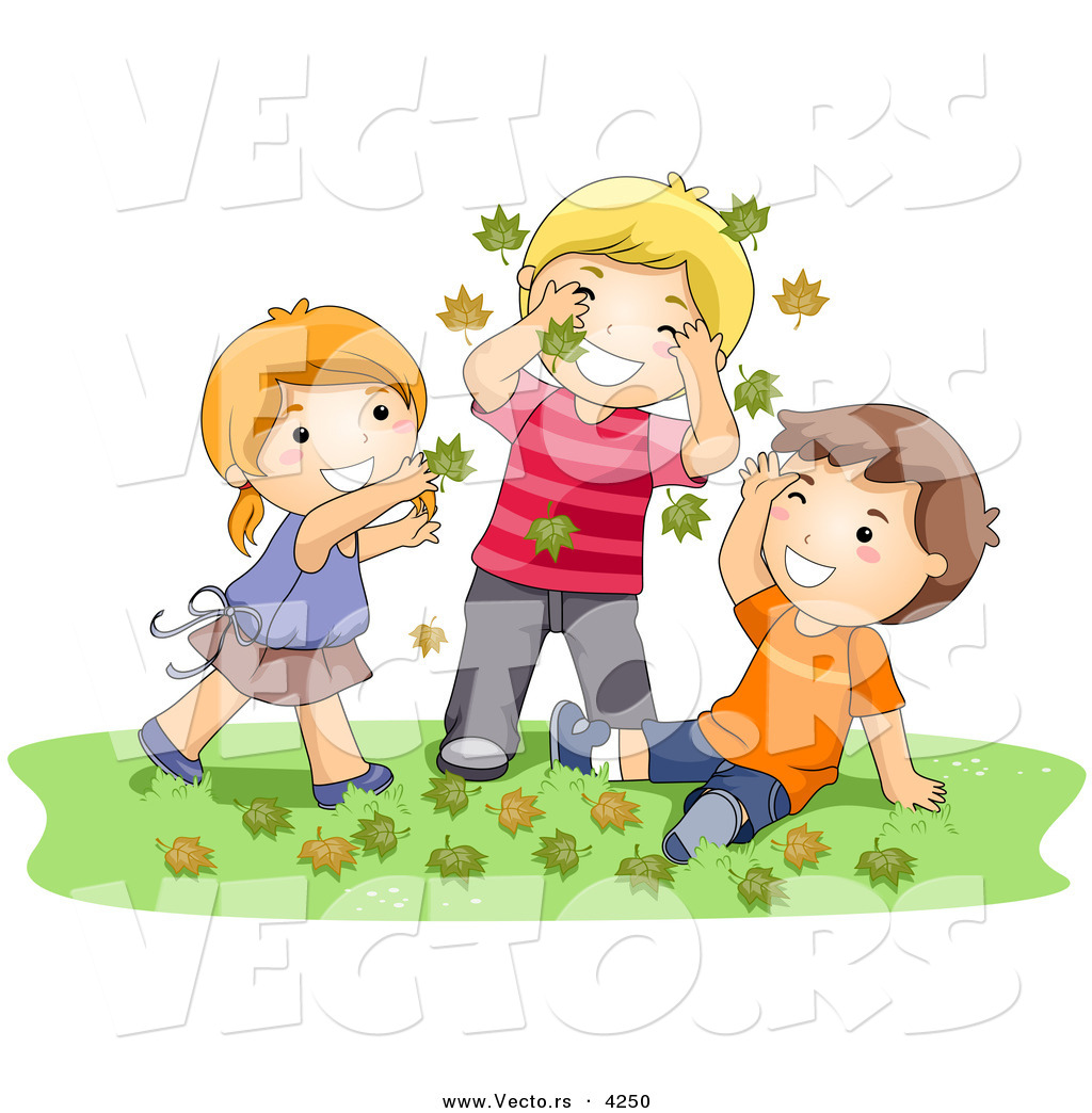Larger Preview: Cartoon Vector of a Happy Girl and 2 Boys Playing in ...