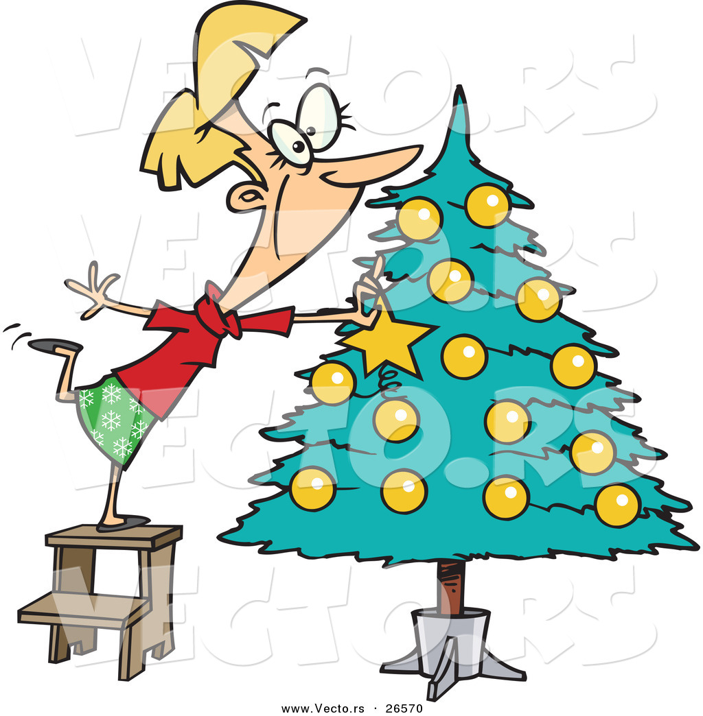 Cartoon vector of a happy girl decorating a christmas tree by ron