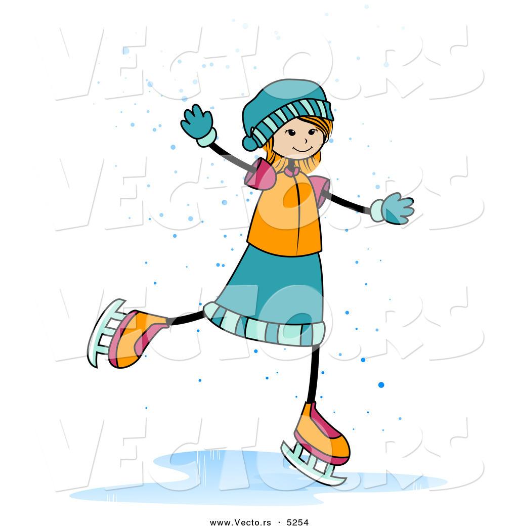 Ice Skating Cartoon Girl Happy Girl Ice Skating in The