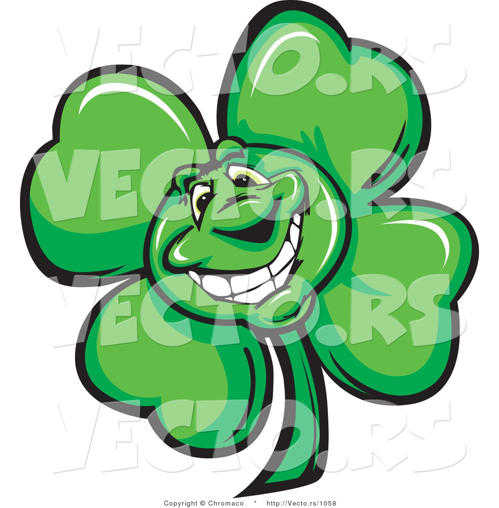 Cartoon Vector of a Happy St. Patrick's Day Shamrock Clover Mascot by ...