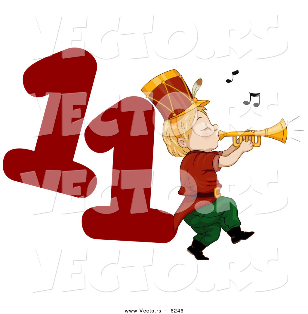 Cartoon Vector Of A Piper Piping Beside A Red Number