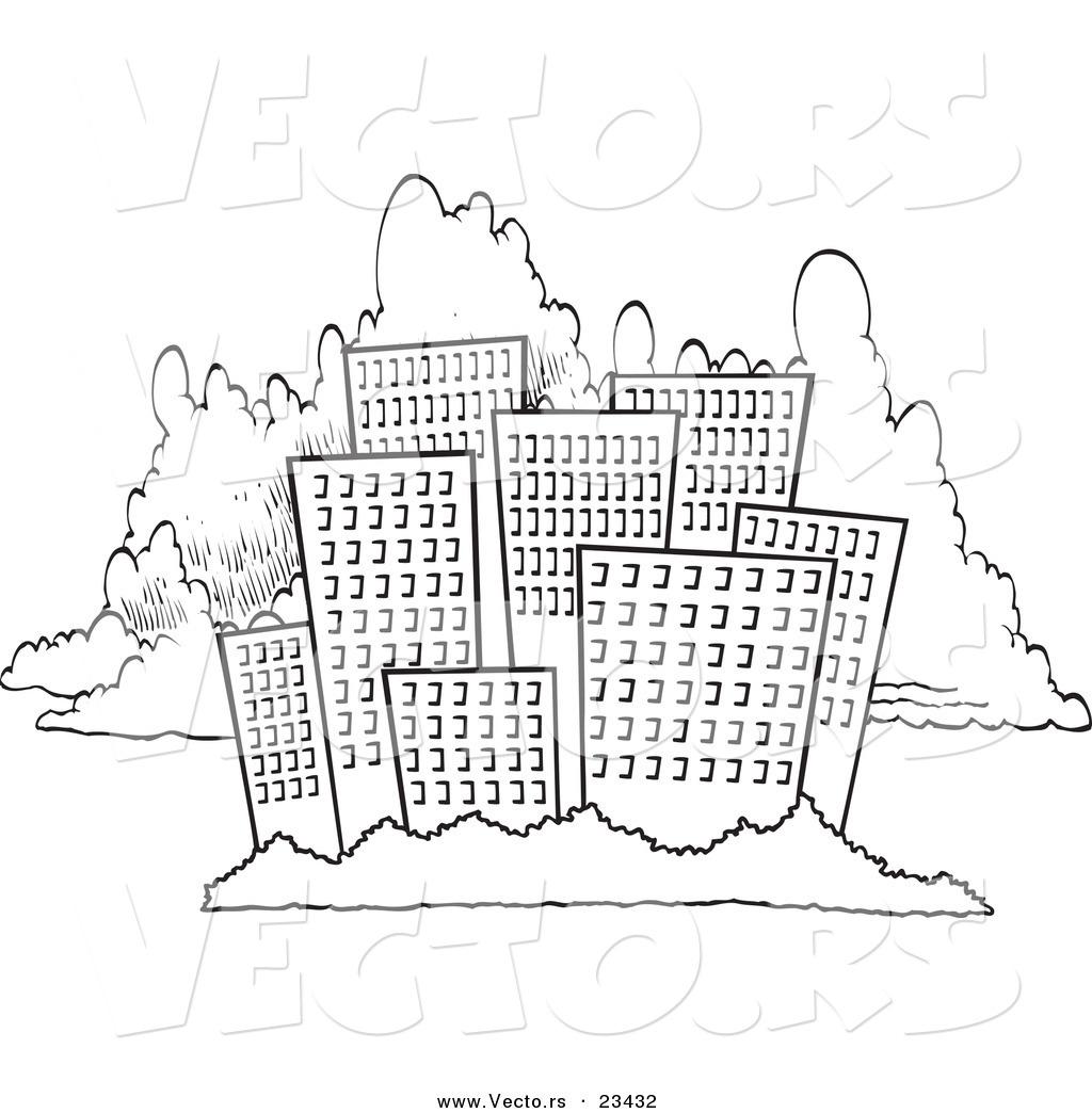 Cartoon Vector Of City Skyline Against Clouds