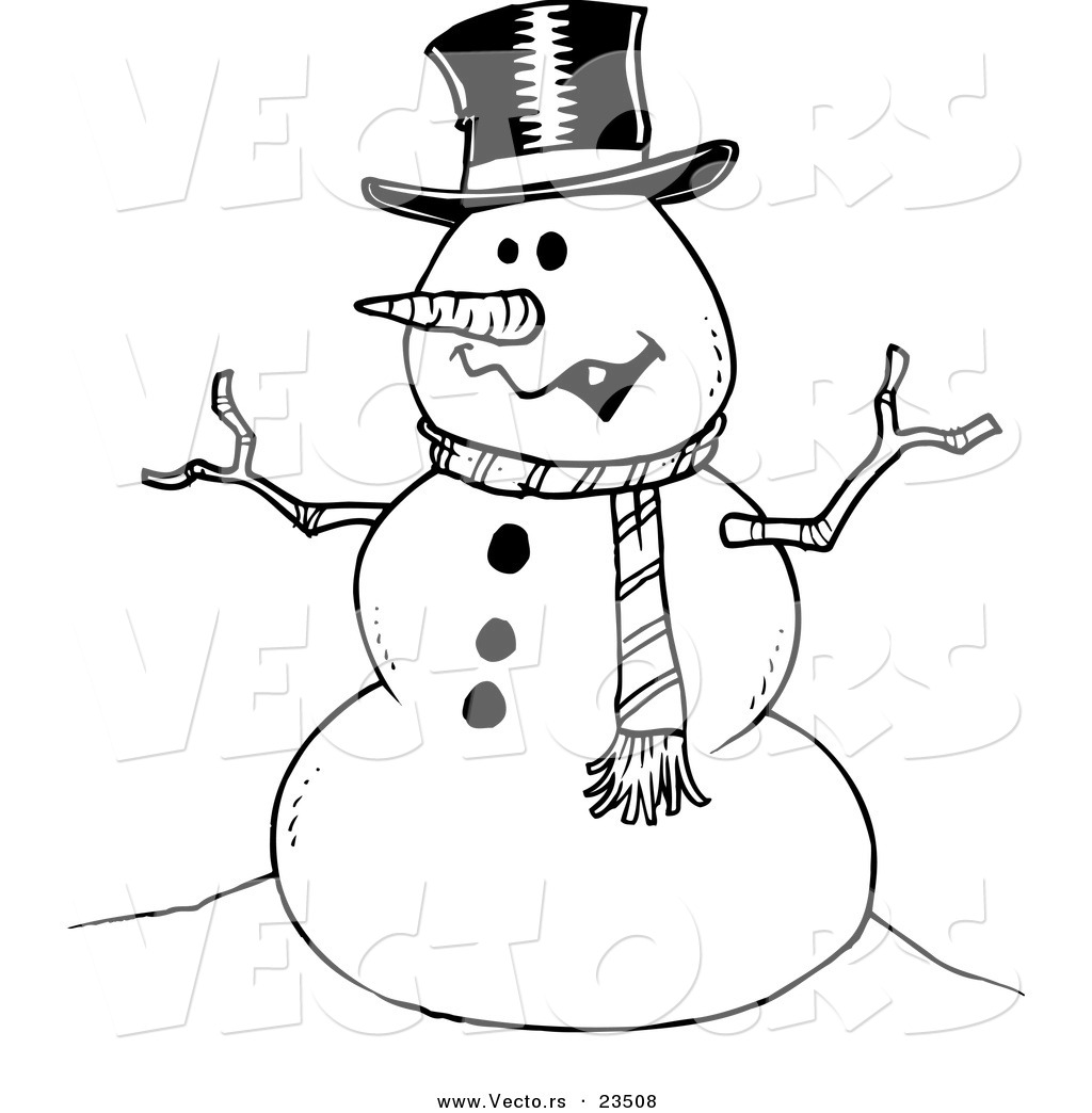 ... Friendly Snowman - Coloring Page Outline by Ron Leishman - #23508