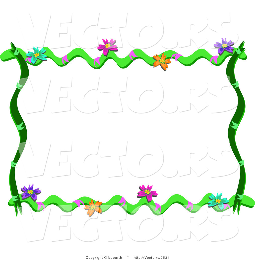 Cartoon Vector of Floral Vines Frame Border