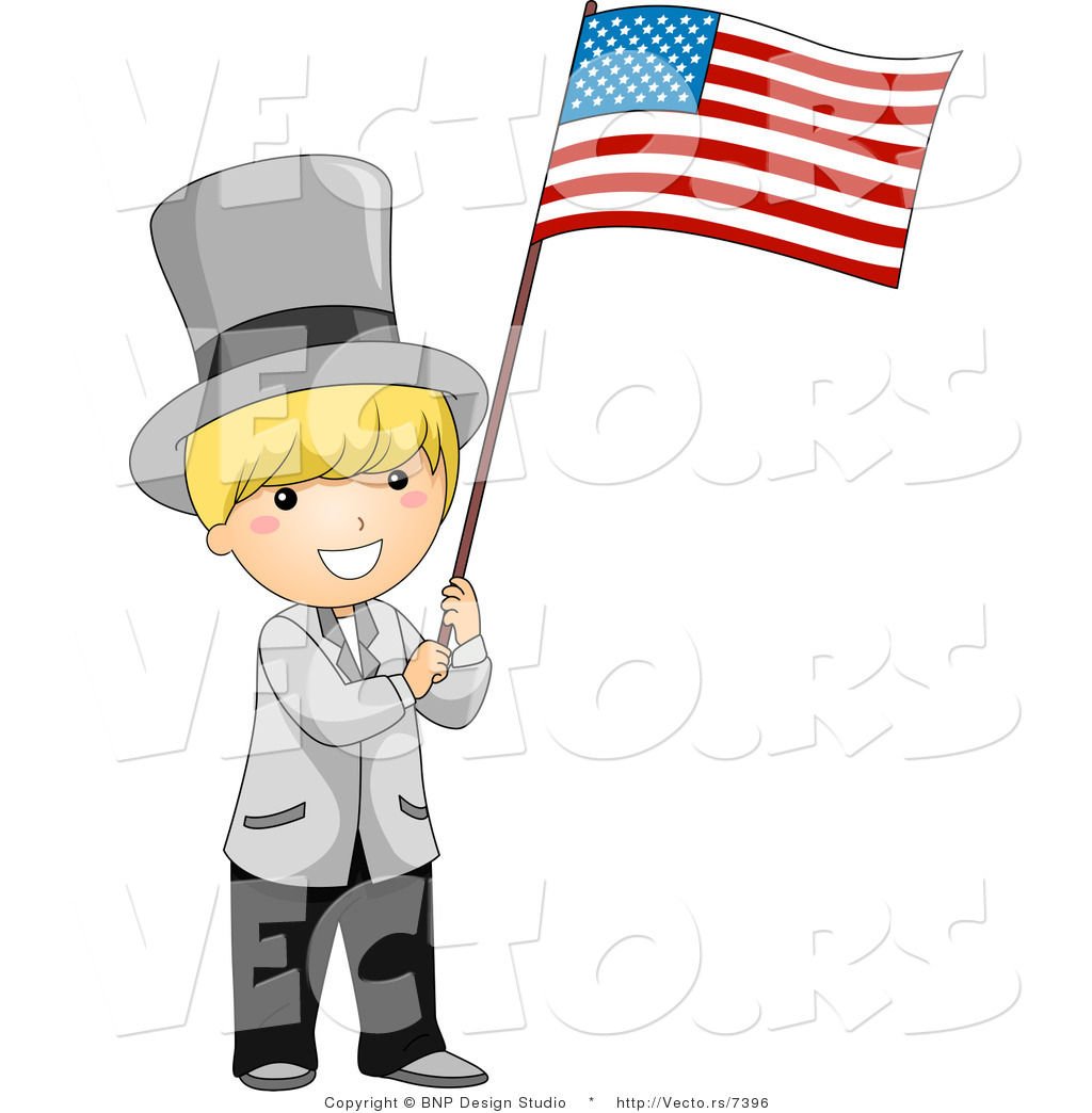 Cartoon Vector of Independence Day Boy Waving American USA Flag by BNP ...