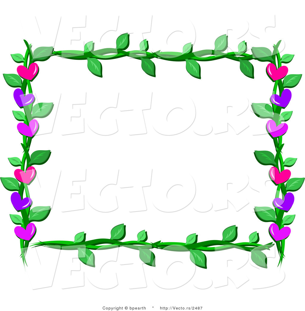 Cartoon Vector of Lover Hearts and Vines Frame Border Design