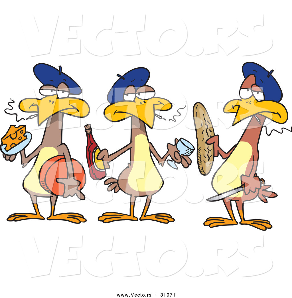 Cartoon Vector of Three French Hens by Ron Leishman - #31971