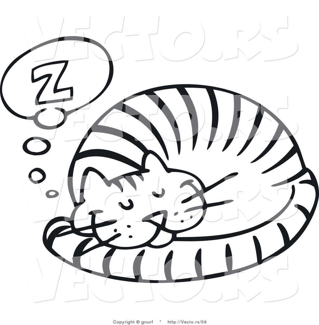 Sleeping Cat Black White Line Art Coloring Book Colouring