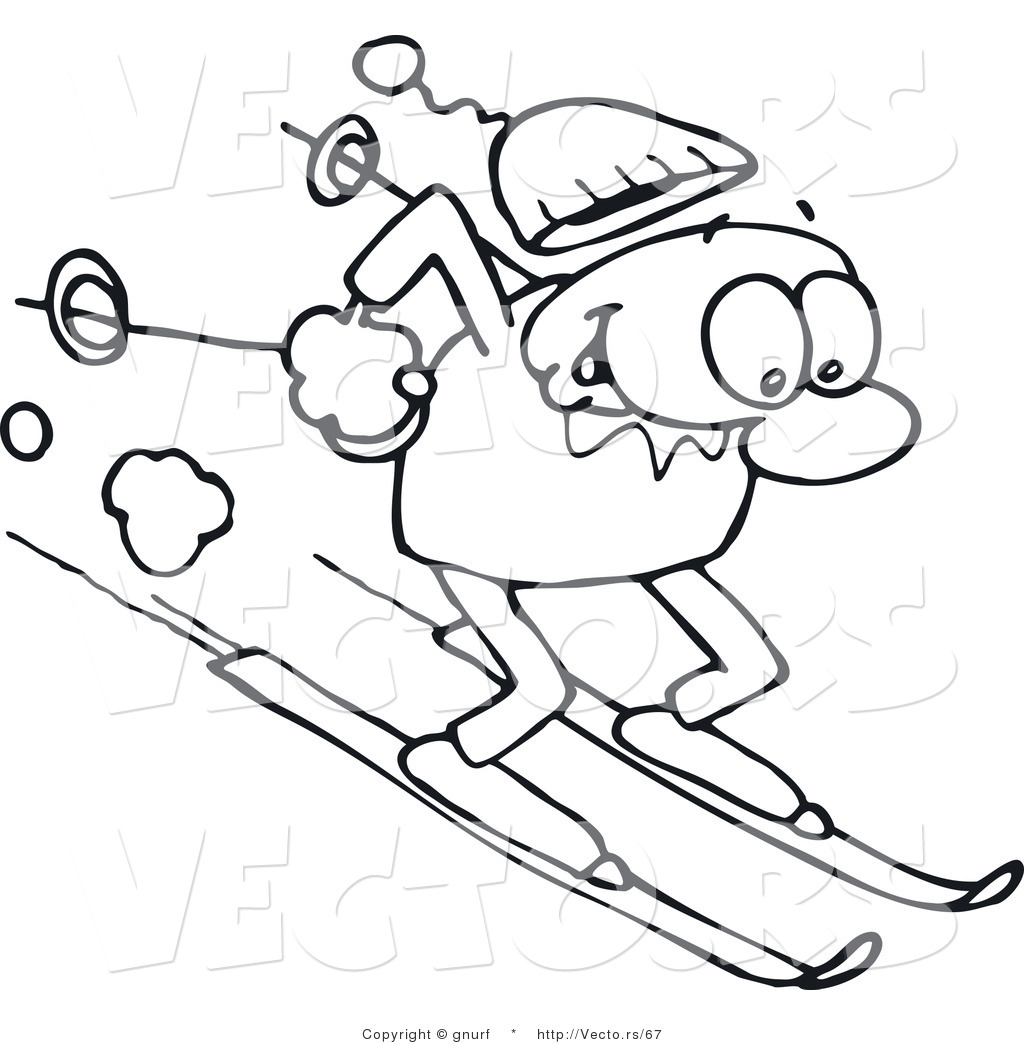 Vector Line Drawing of a Happy Man Winter Skiing down a Steep Slope by