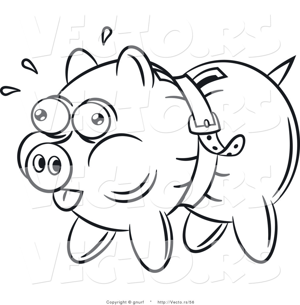 Line Drawing Piggy Bank : Vector line drawing of a piggy bank being squeezed tight