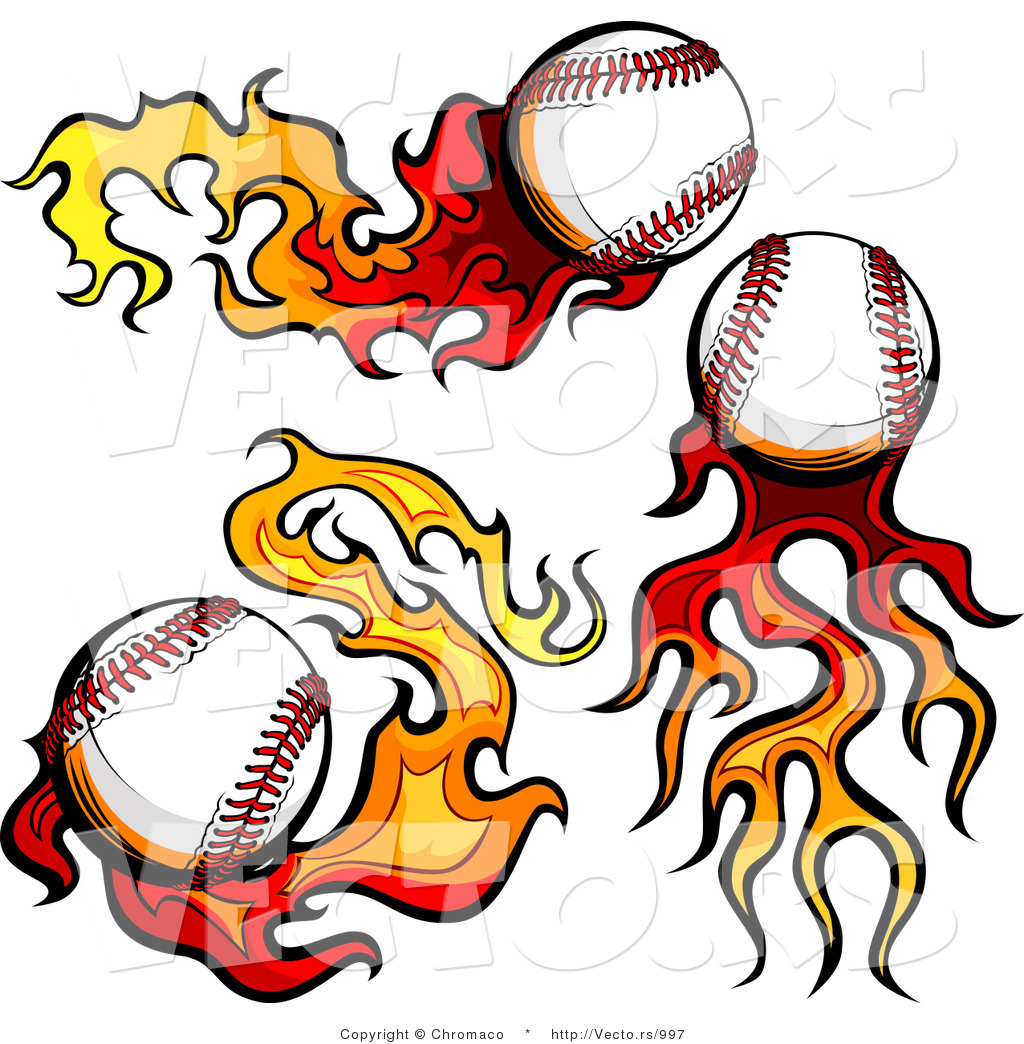 High resolution royalty free vector graphic of 3 flaming baseballs ...