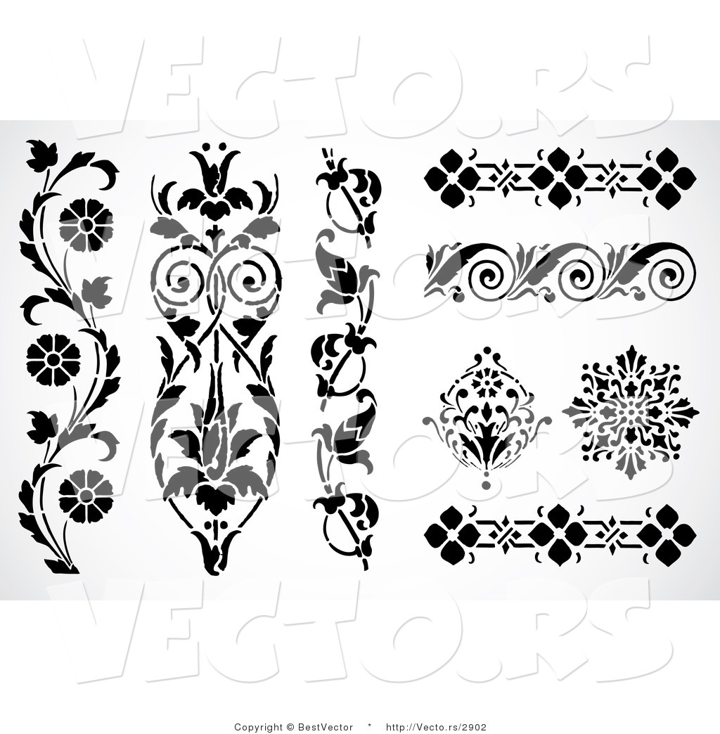 Vector of 8 Unique Floral Edges and Borders - Decorative Web Design