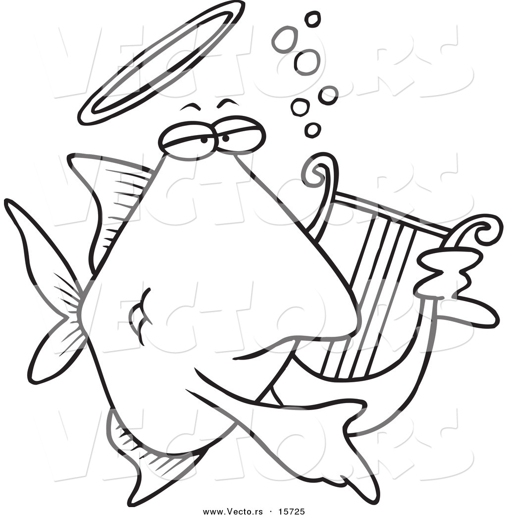 Vector of a Cartoon Angelfish Playing a Lyre - Coloring Page Outline ...