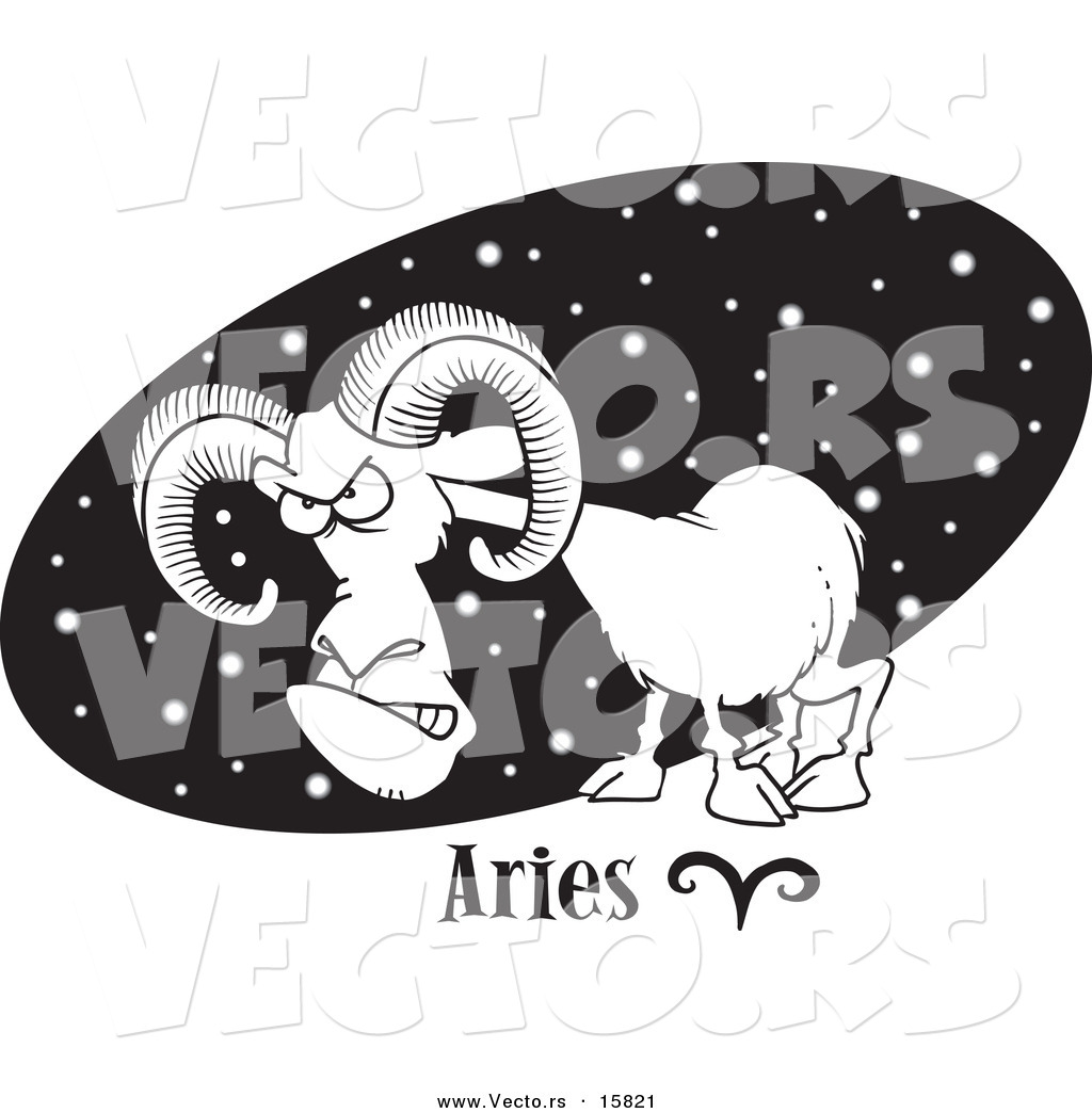 vector of a cartoon aries ram over a black starry oval outlined