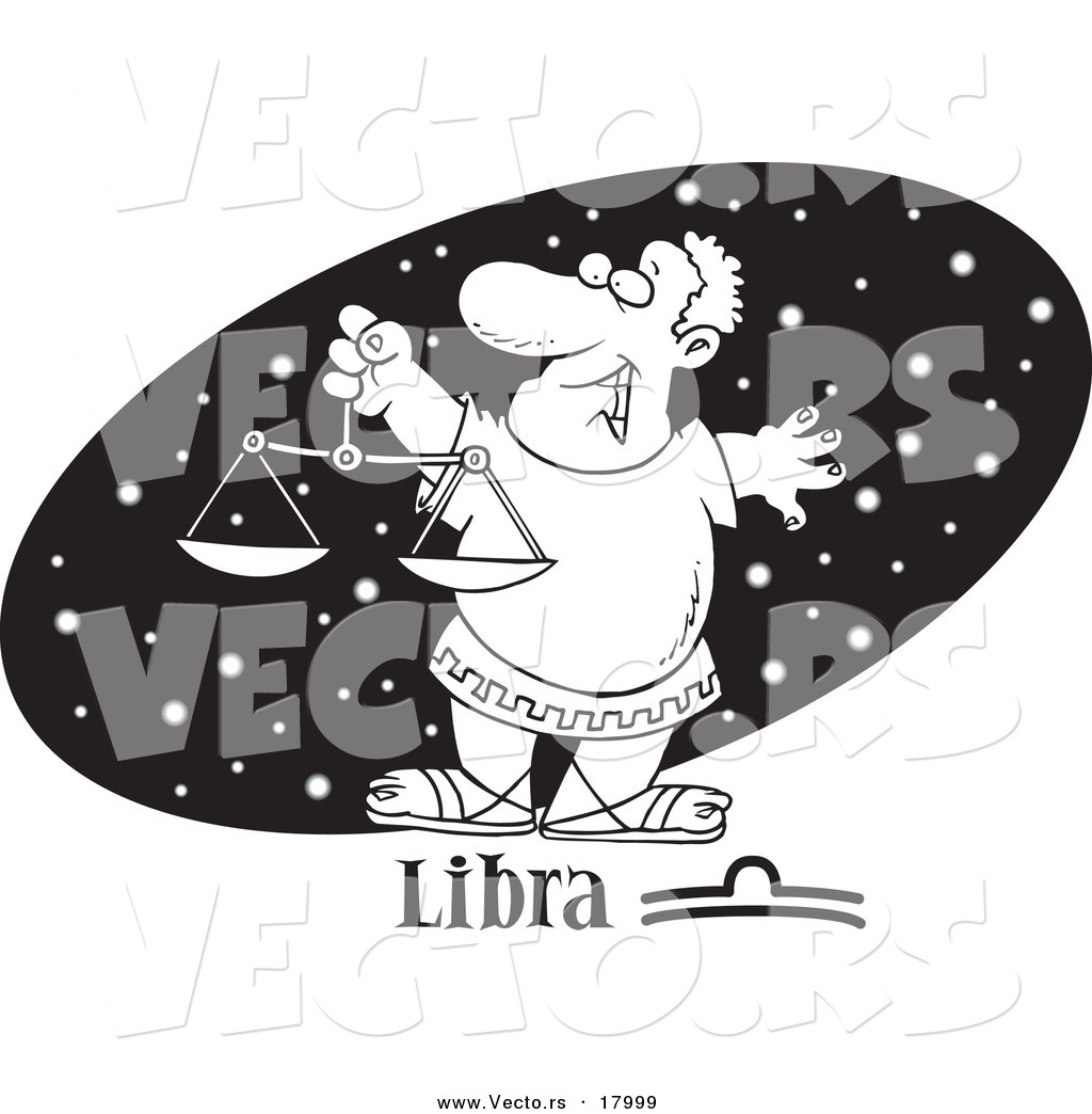 vector of a cartoon astrology libra man over a black starry oval