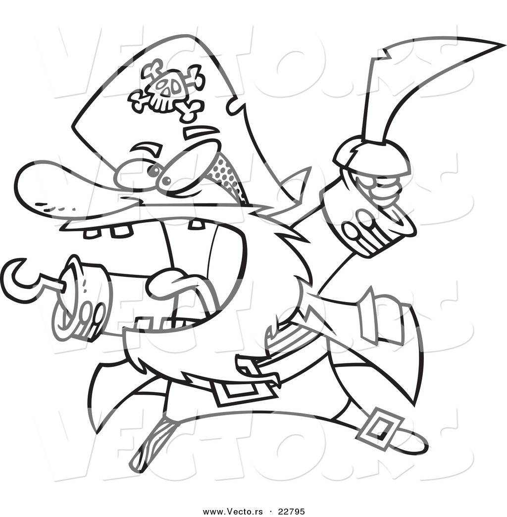 Vector Of A Cartoon Attacking Pirate Coloring Page