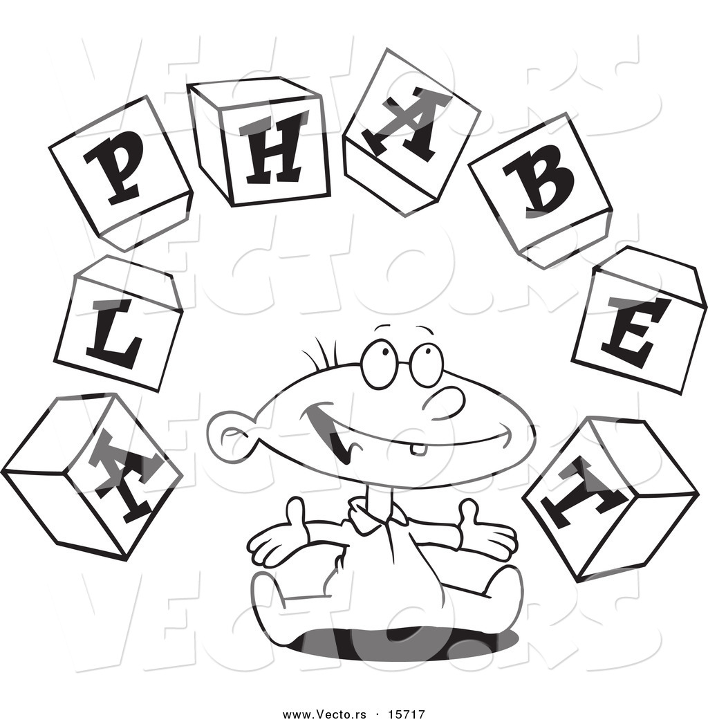 Vector of a Cartoon Baby Playing with Alphabet Blocks ...