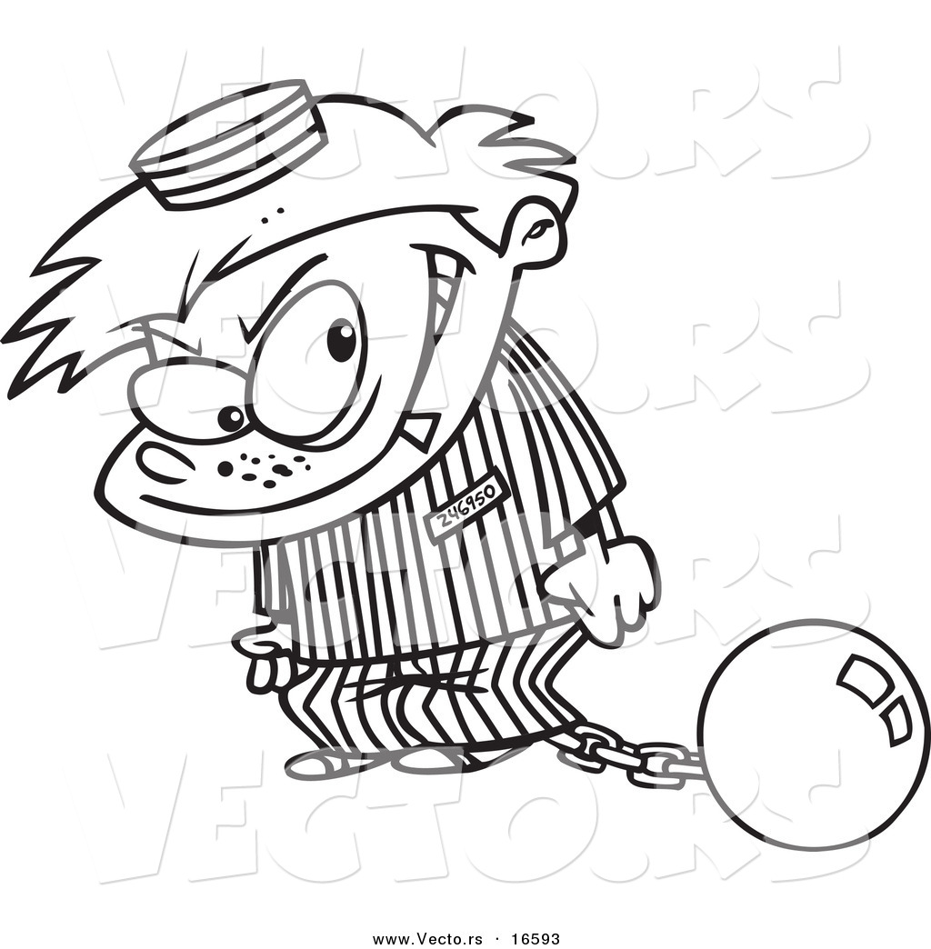 vector of a cartoon bad boy in a prison uniform outlined coloring page drawing