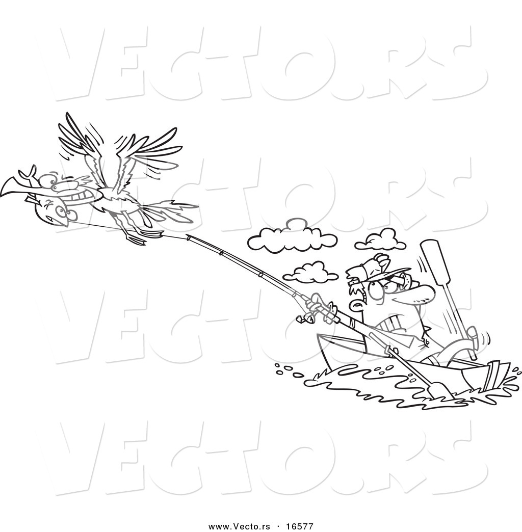 Vector of a Cartoon Bad Gull Stealing a Fish from a Fisherman
