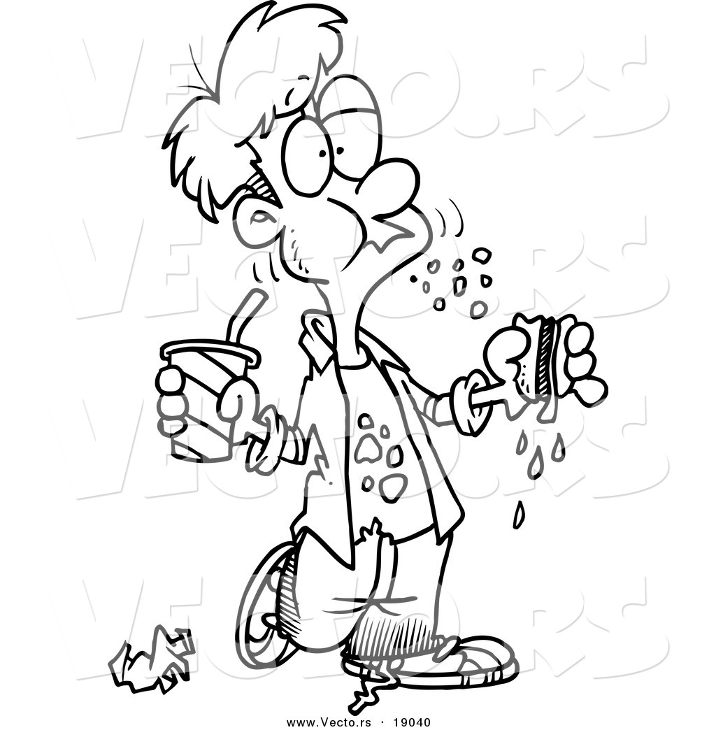 Coloring pages healthy food coloring pages junk food coloring pages - All The Unhealthy Foods Colouring Pages Page 3 Vector Of A Cartoon Bad Mannered Boy Eating A Sloppy Sandwich