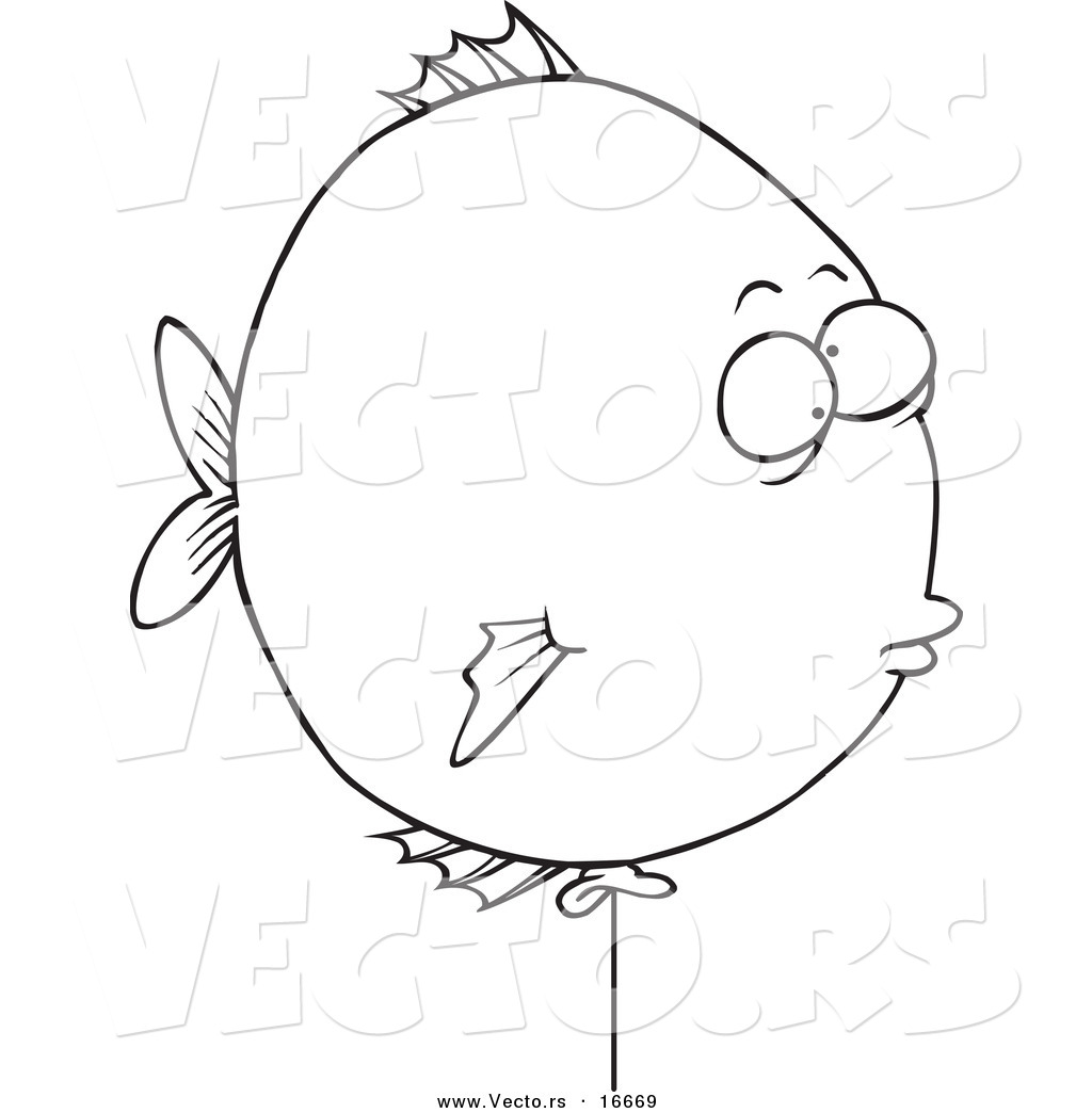 Vector Cartoon Balloon Fish Outlined Coloring Page Drawing