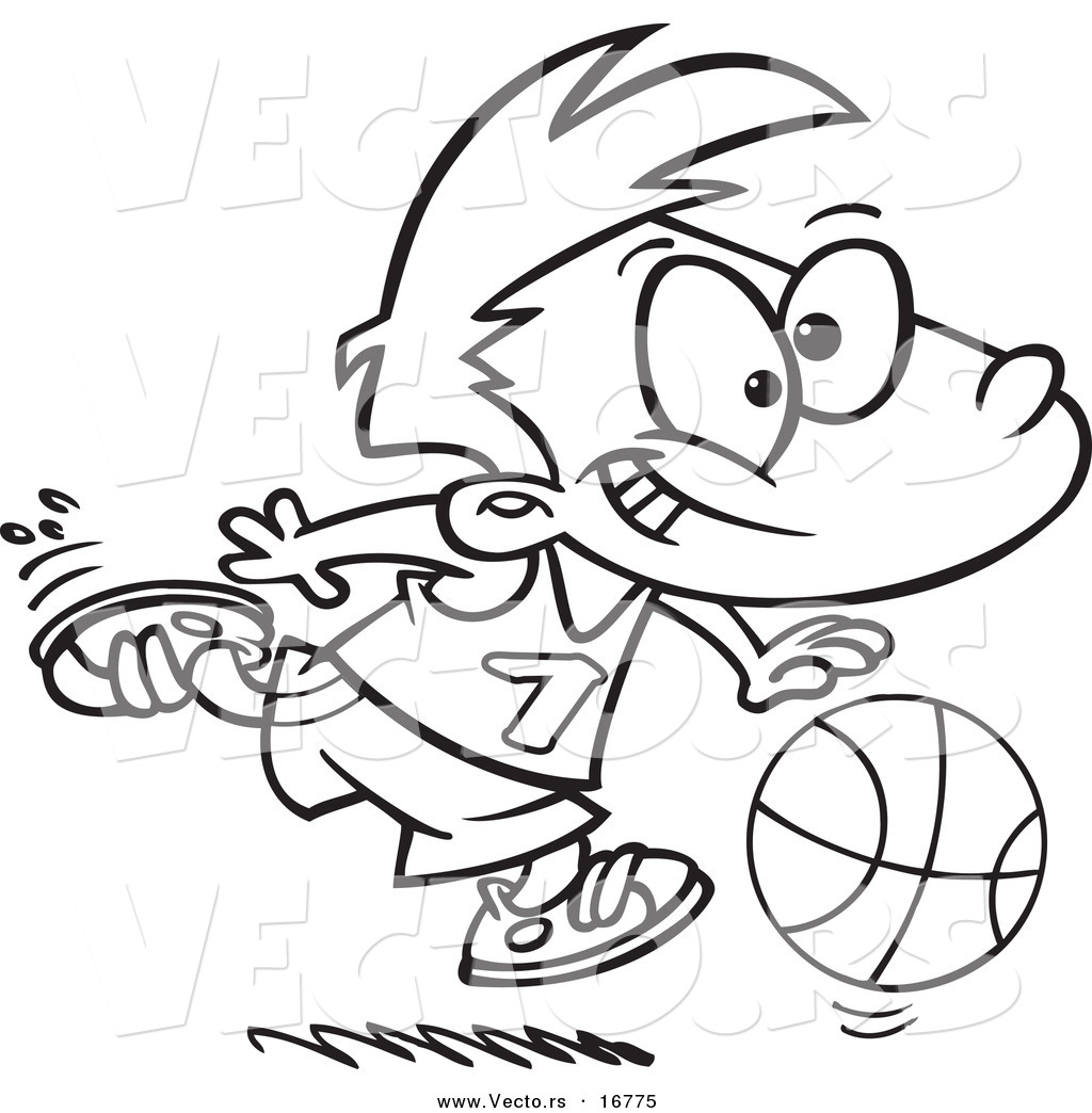 Vector Of A Cartoon Basketball Boy Dribbling Coloring