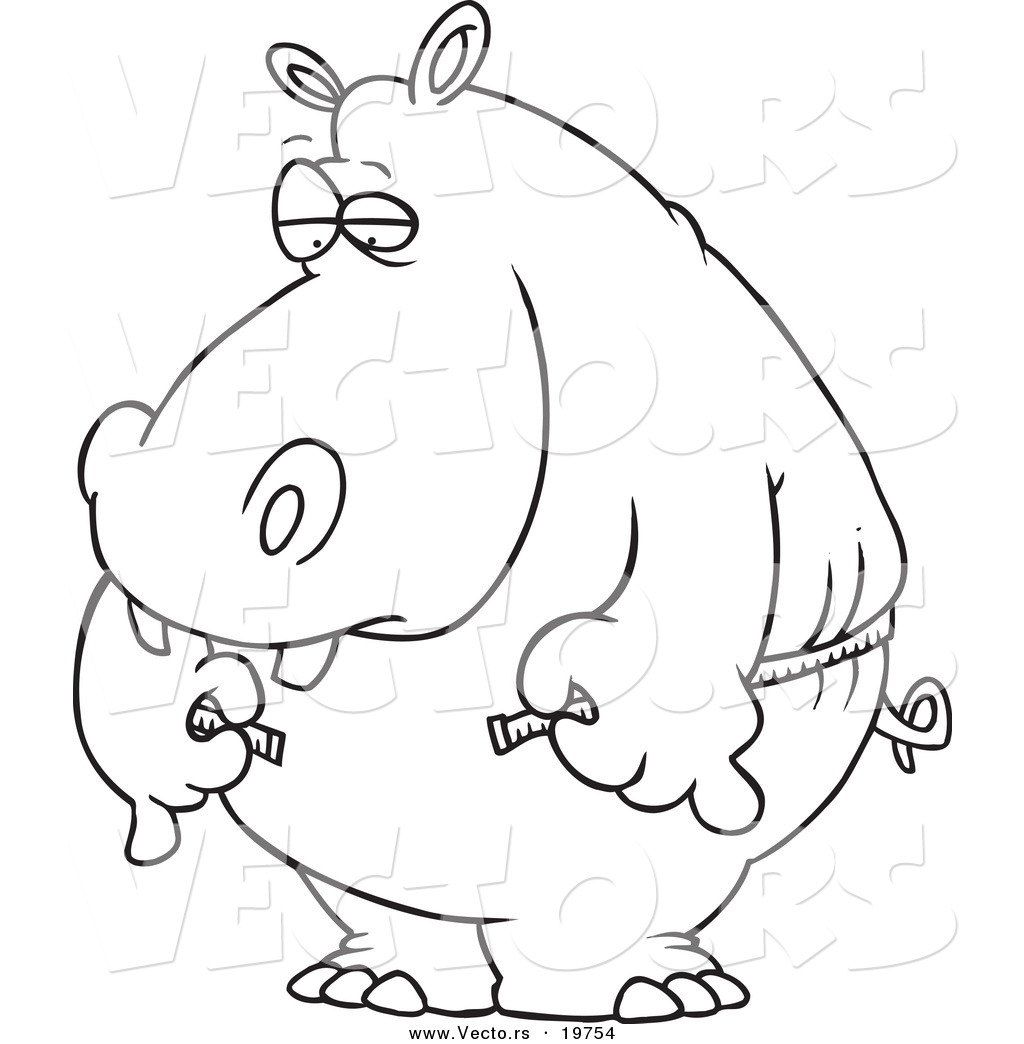Vector of tape measure border a page border created from a rag tape - Vector Of A Cartoon Big Hippo Measuring His Waist With A Short