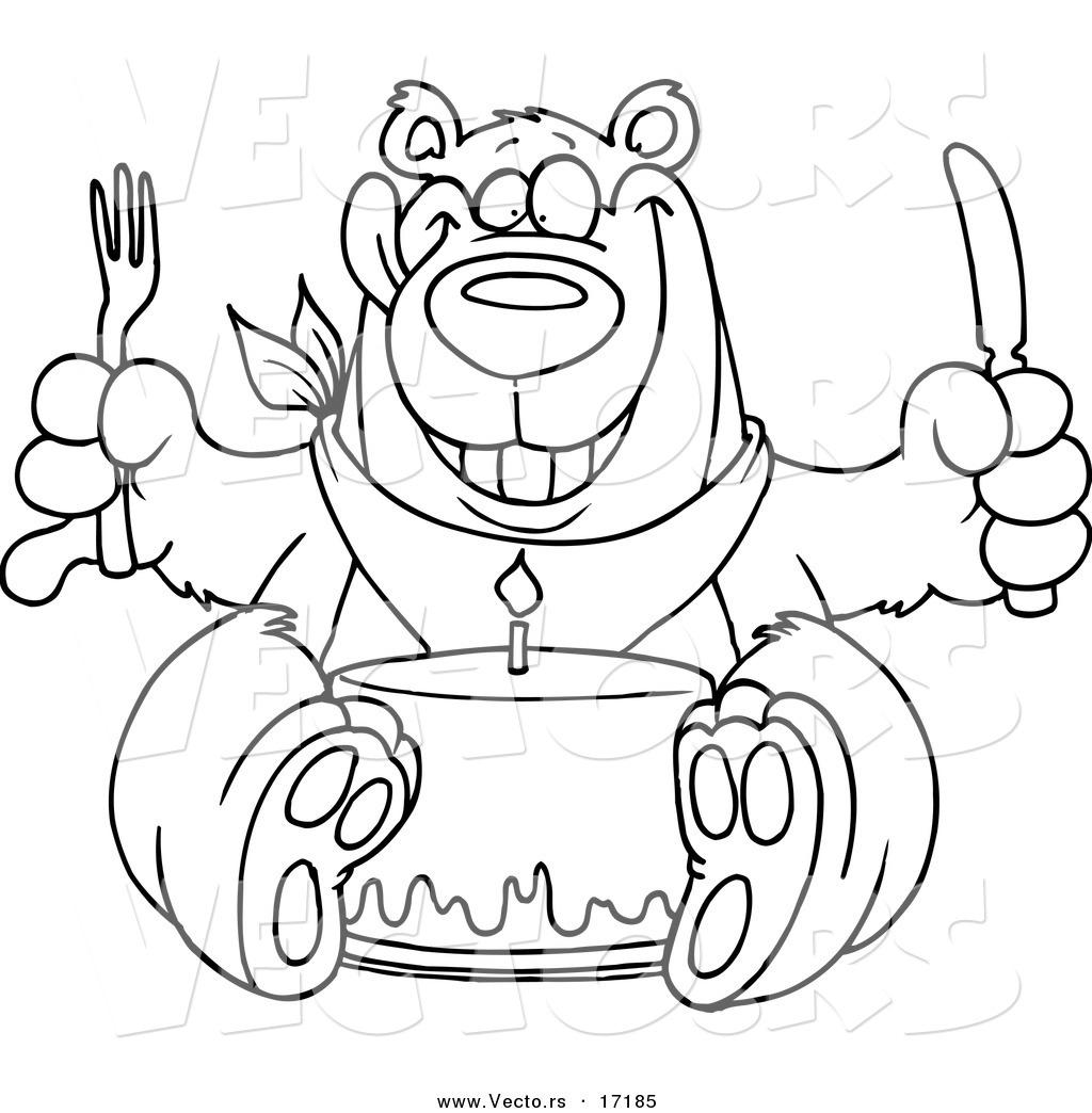 Vector of a Cartoon Birthday Bear