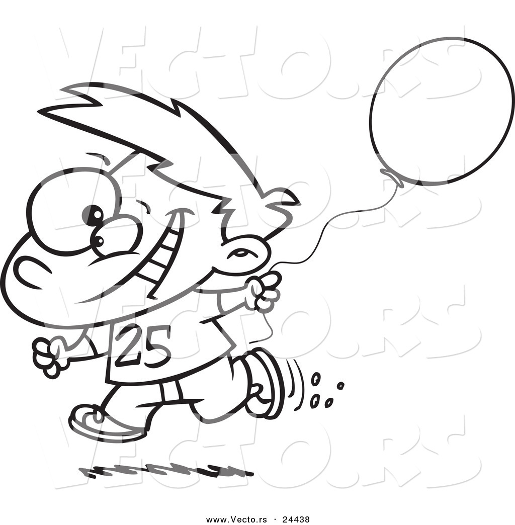 Birthday Boy Running With A Party Balloon