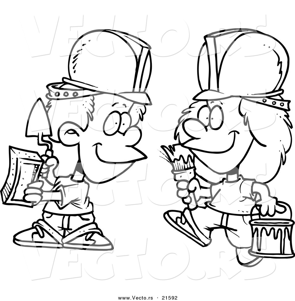 vector of a cartoon black and white outline design of construction kids