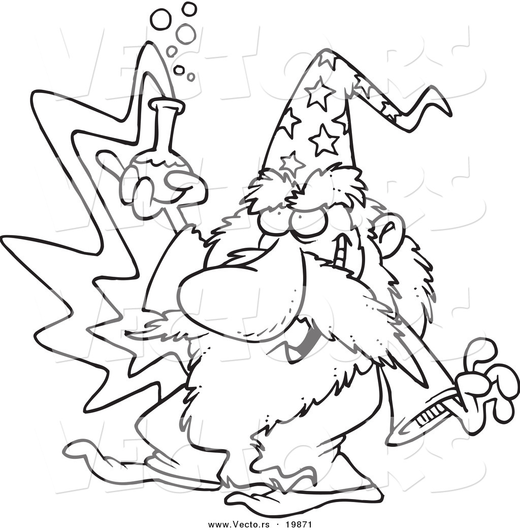 vector of a cartoon black and white outline design of merlin