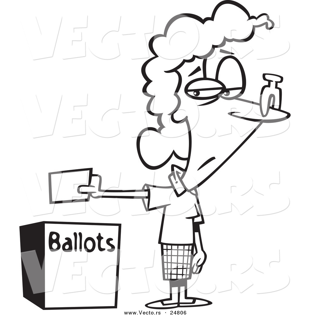 vector of a cartoon black and white outline female voter