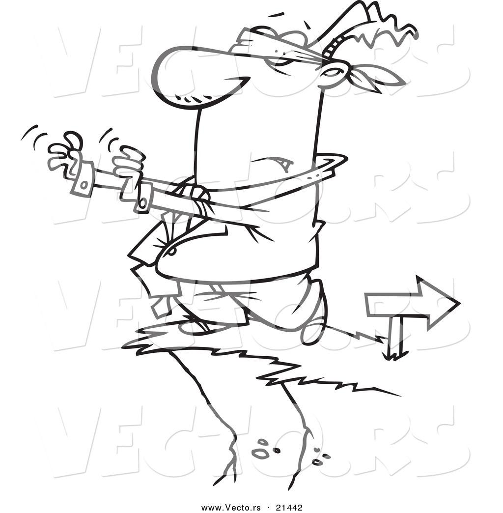 vector of a cartoon blindfolded businessman walking