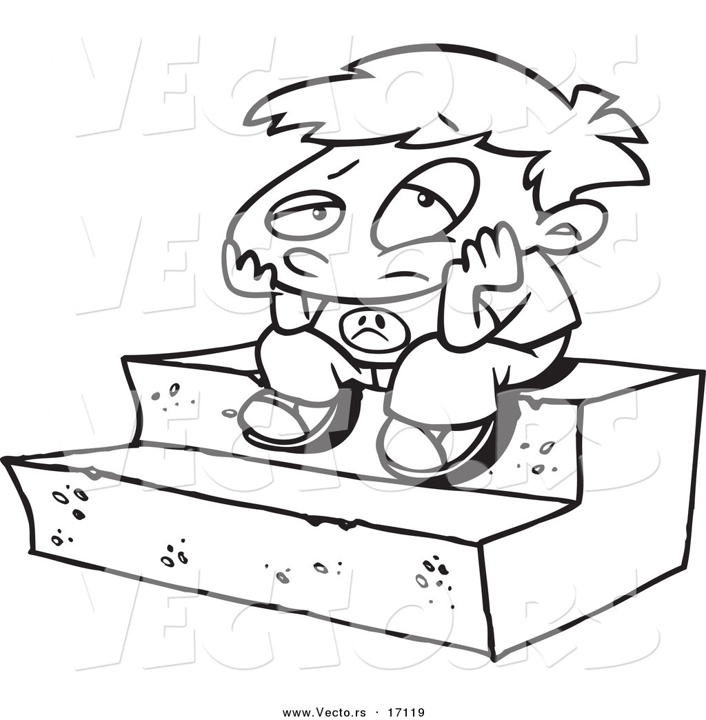 Vector of a Cartoon Bored Boy Sitting on Steps - Coloring Page Outline ...