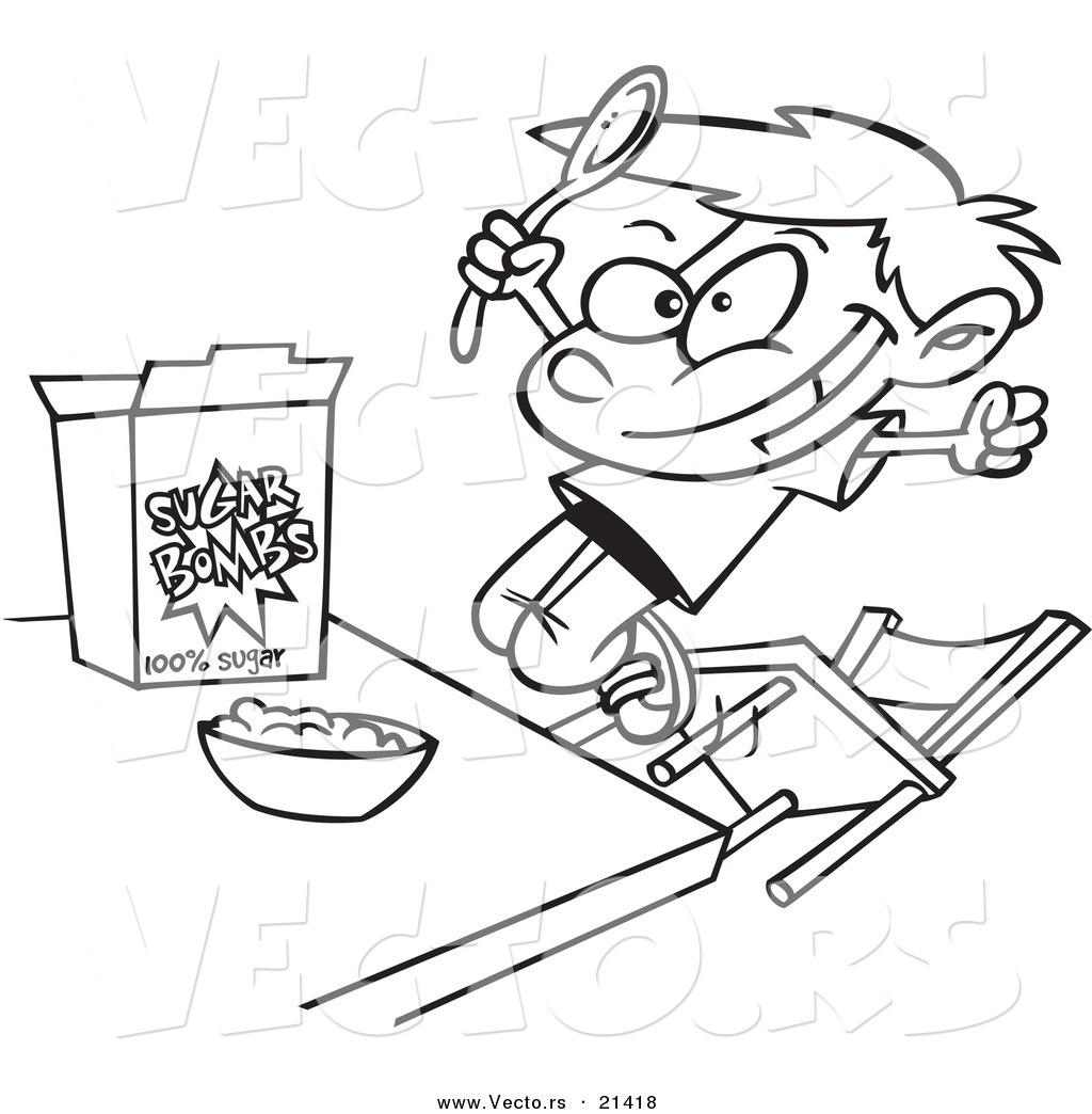 Vector Of A Cartoon Boy Eating Sugary Cereal