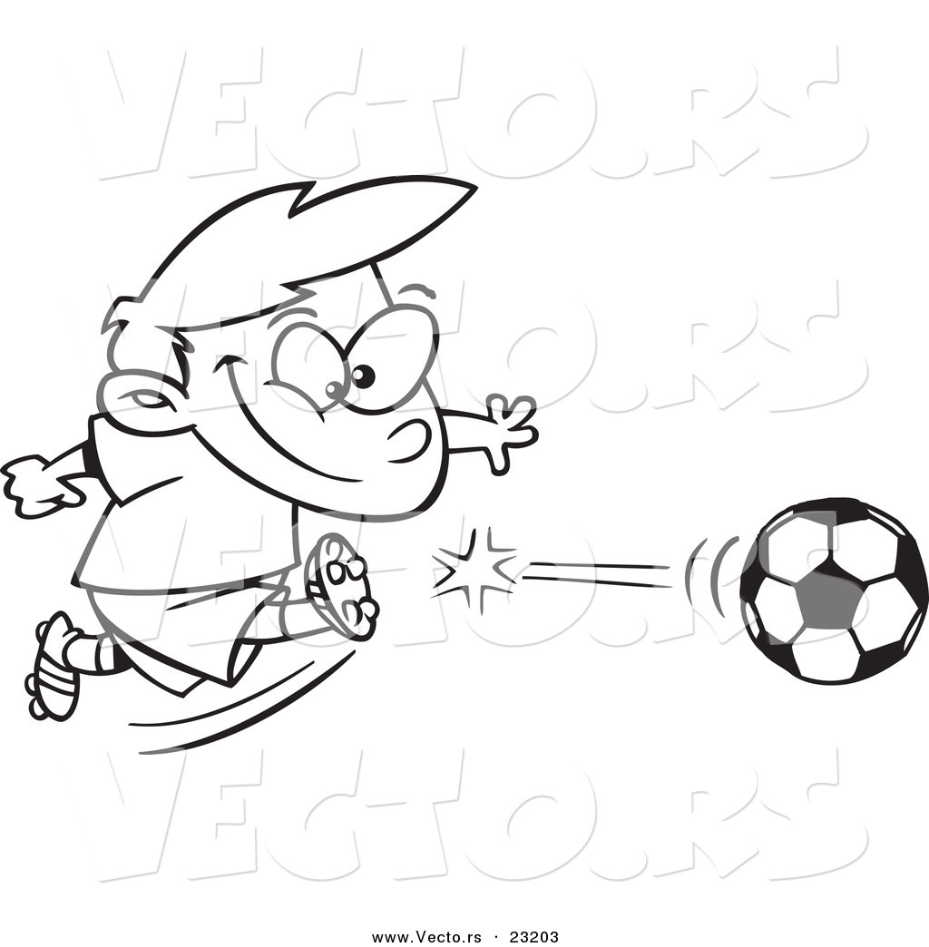 Vector of a Cartoon Boy Kicking a Soccer Ball Coloring Page