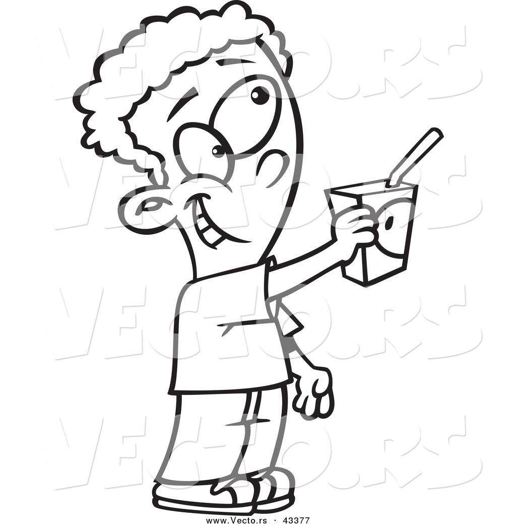 Vector Of A Cartoon Boy Sharing His Juice Box Coloring