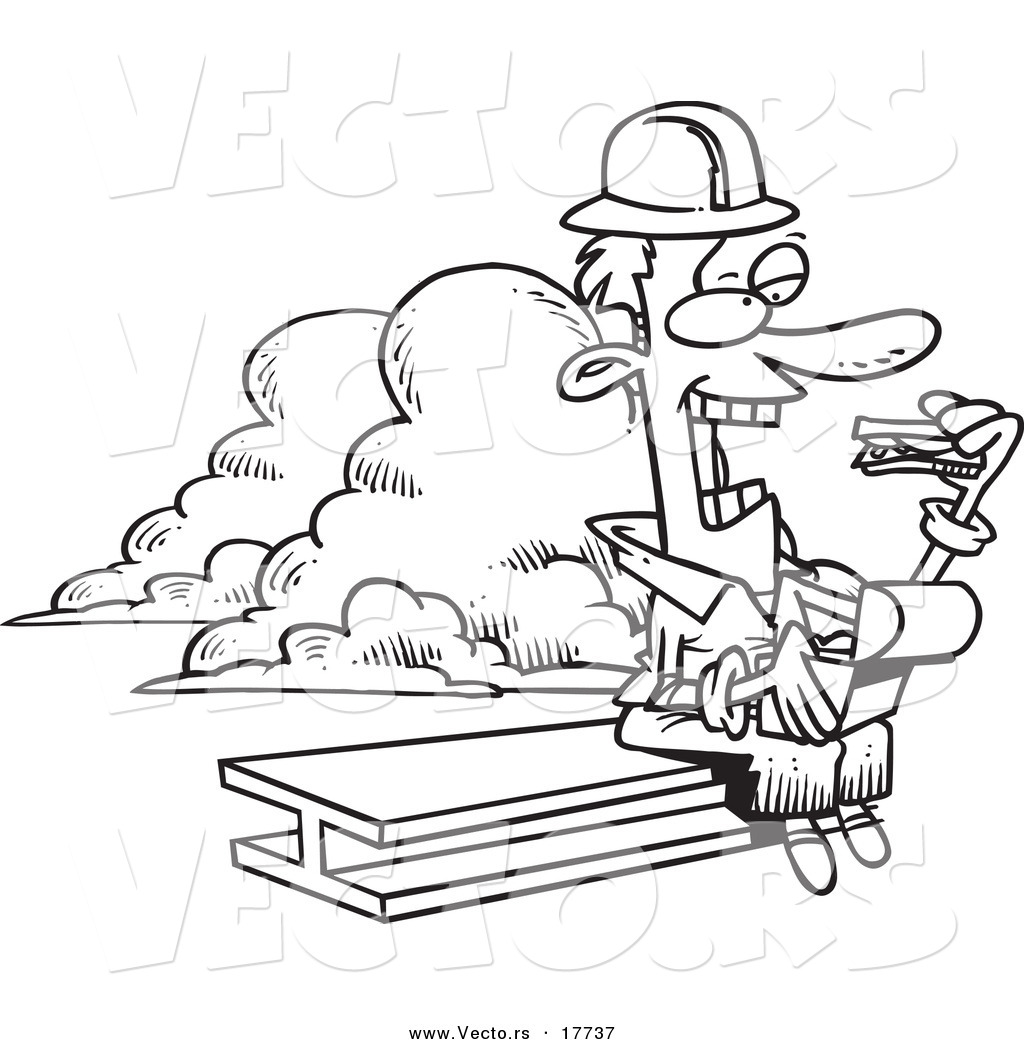 vector of a cartoon builder eating his lunch on a beam
