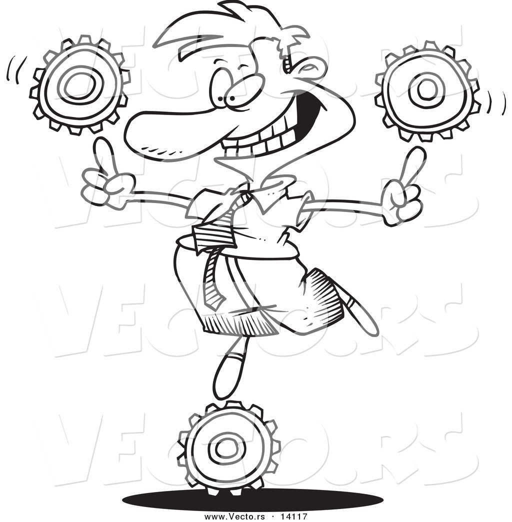 Cartoon Businessman Balancing Technology Gears Coloring Page Outline