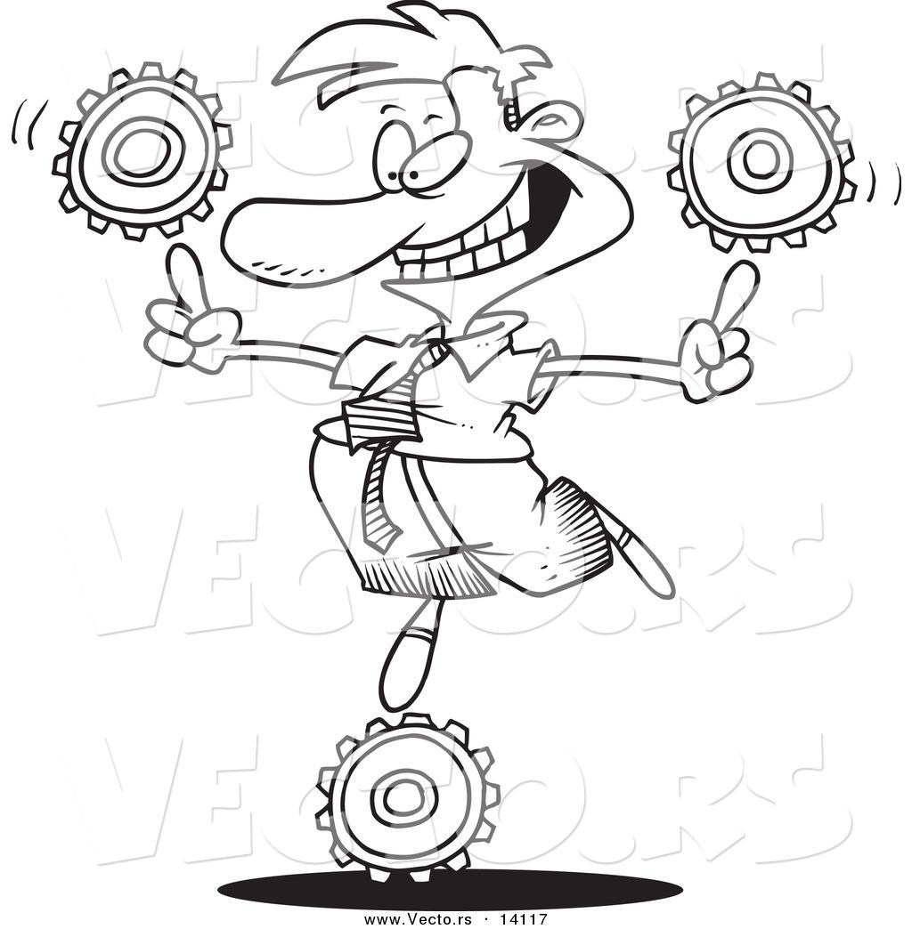 vector of a cartoon businessman balancing technology gears