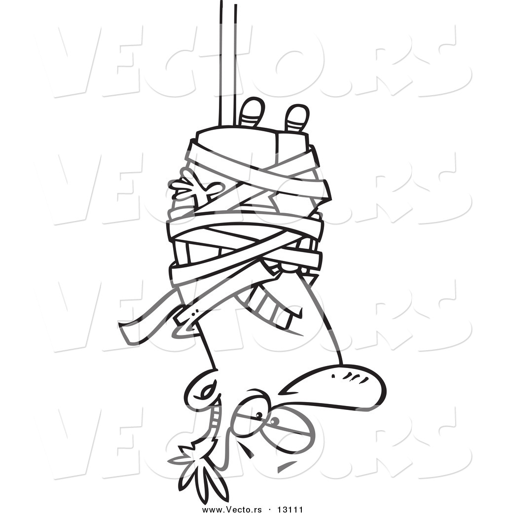 Vector of a cartoon businessman caught hanging upside down in tape