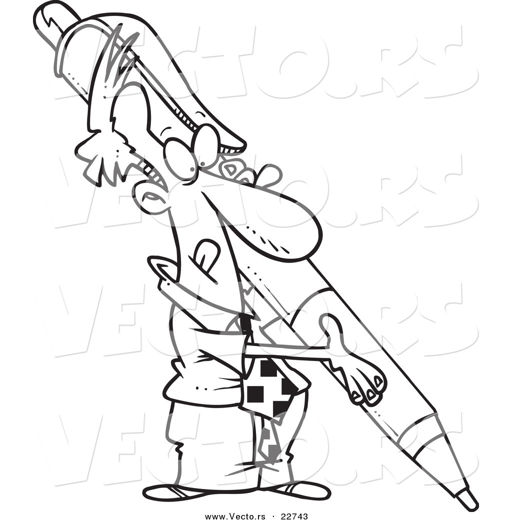 pen coloring pages - vector of a cartoon businessman holding a huge pen
