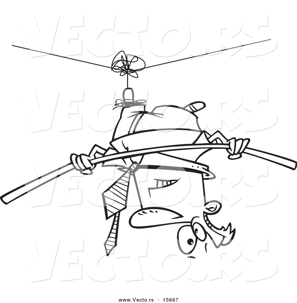 vector of a cartoon businessman suspended upside down from