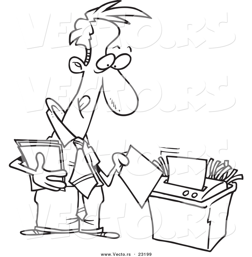 shredder coloring pages - vector of a cartoon businessman using a shredder