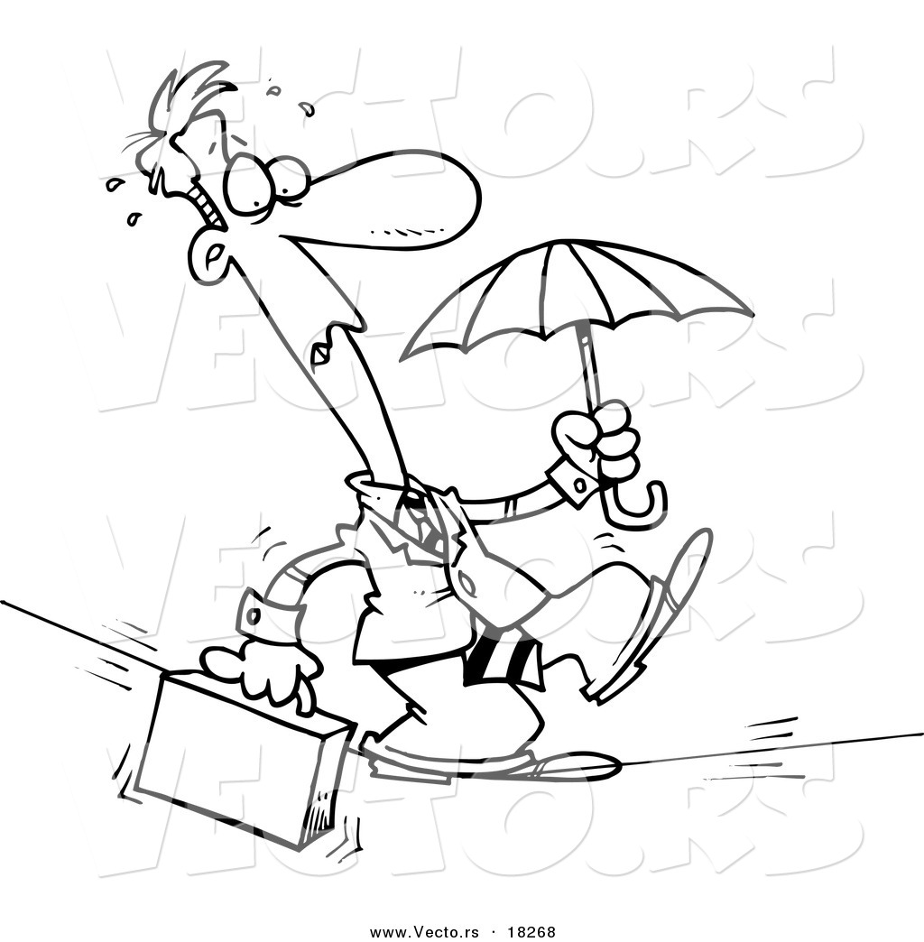 vector of a cartoon businessman walking across a tight