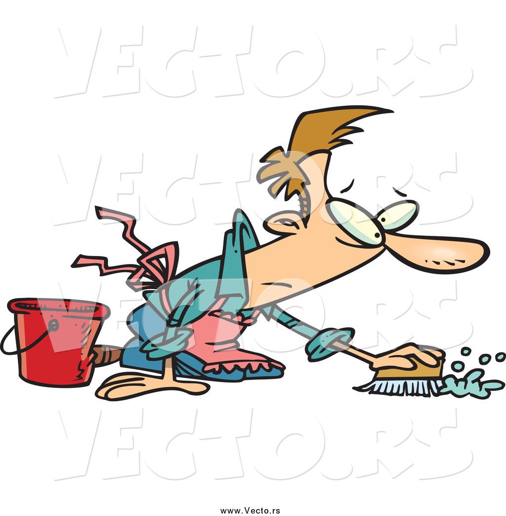 Vector Of A Cartoon Caucasian Guy Scrubbing Floor By Ron Leishman 33998