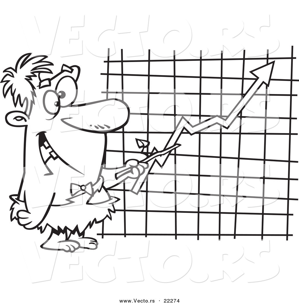 Vector of a Cartoon Caveman Executive Pointing to a Chart