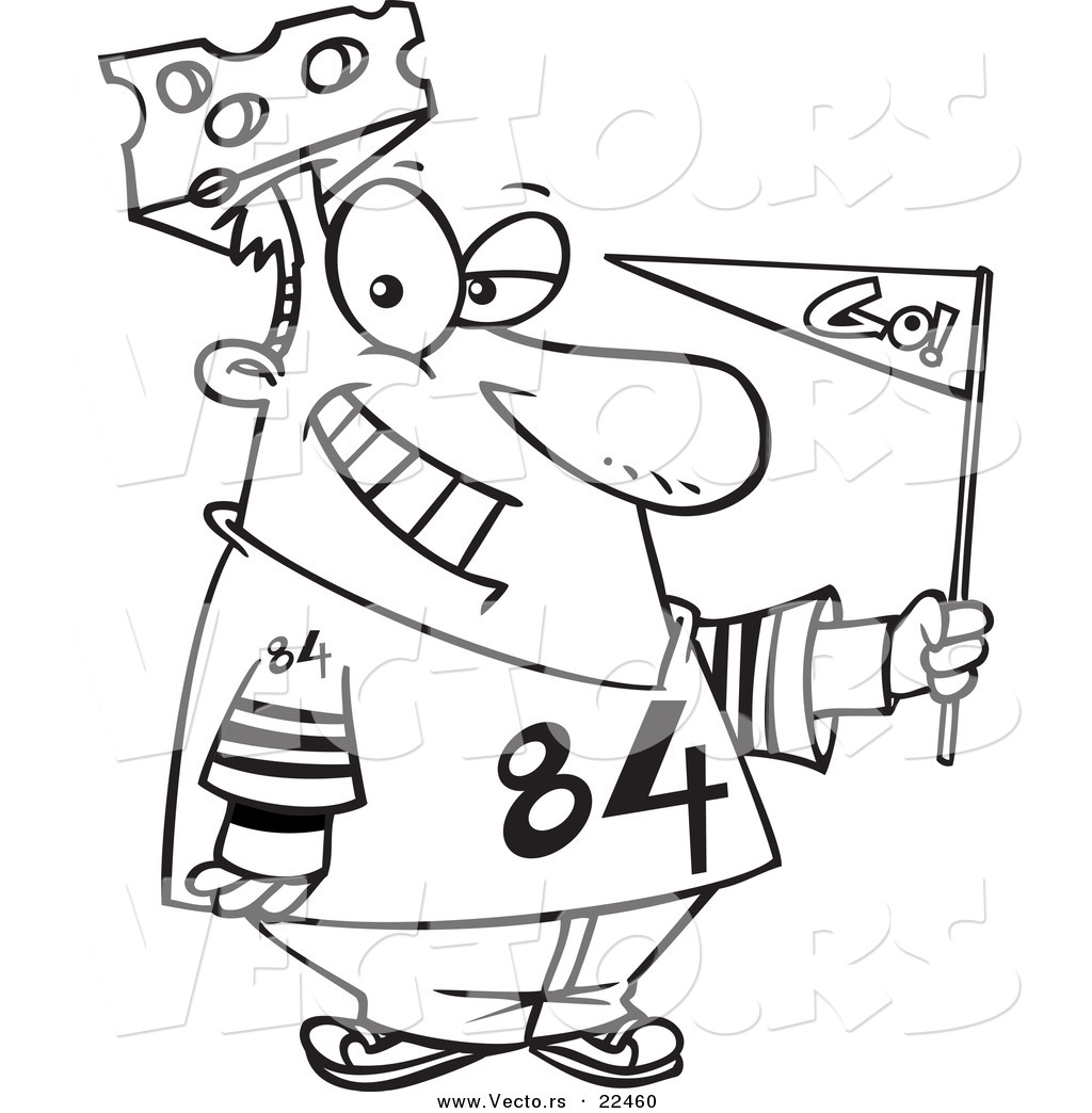 vector of a cartoon cheese head sports fan coloring page outline by ron leishman 22460. Black Bedroom Furniture Sets. Home Design Ideas